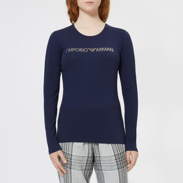 Emporio Armani Women's Basic Cotton Long Sleeve T-Shirt - Deep Blue