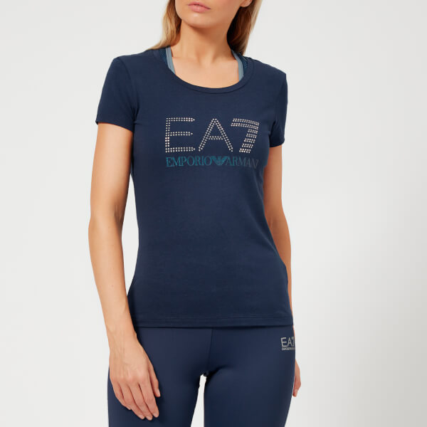 Emporio Armani EA7 Women's Train Logo Series Short Sleeve T-Shirt with Studs - Navy Blue
