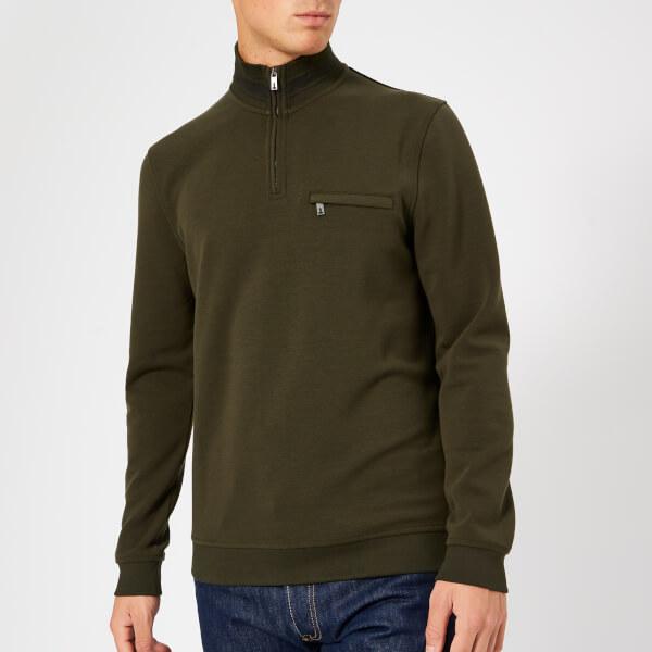 a0a0d74b6a7416 Ted Baker Men s Leevit Half Zip Sweatshirt - Khaki Mens Clothing ...