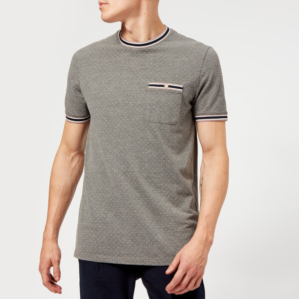 03ad9a067f4480 Ted Baker Men s Glaad Pique Mini Spot T-Shirt - Grey Marl Clothing ...
