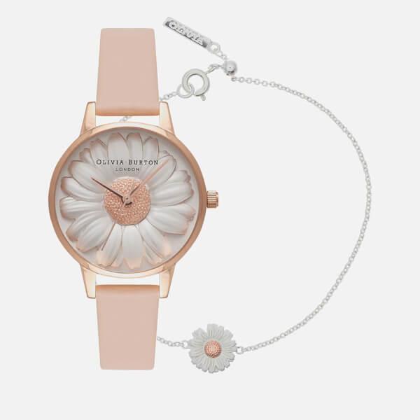 Olivia Burton Women's 3D Daisy Watch and Bracelet Gift Set - Rose Gold Bracelet/Nude Peach