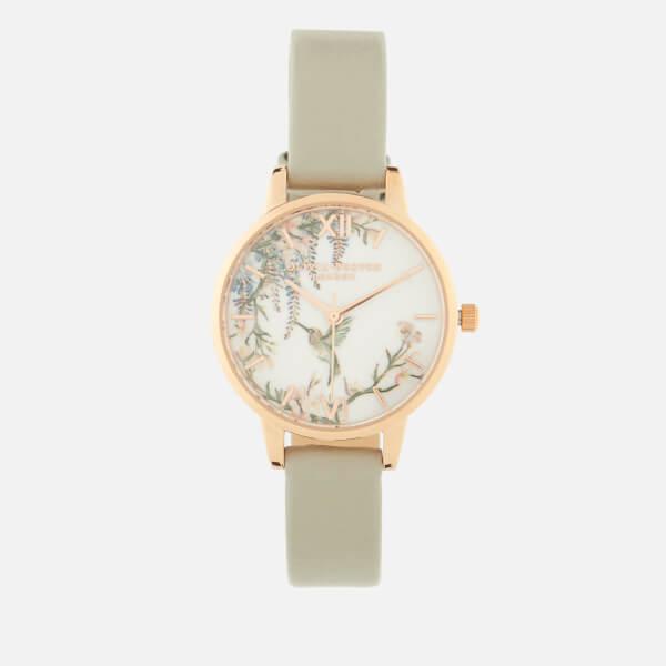 Olivia Burton Women's Painterly Prints Watch - Grey & Rose Gold