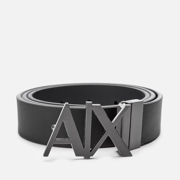 Armani Exchange Men's Leather Belt - Black/Phantom