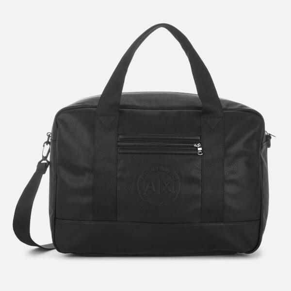 8f4a7150668 Armani Exchange Men s Debossed Logo Overnight Bag - Black  Image 1