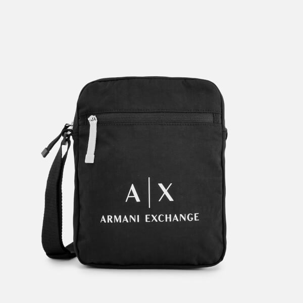 Armani Exchange Men's Contrast Logo Cross Body Bag - Black