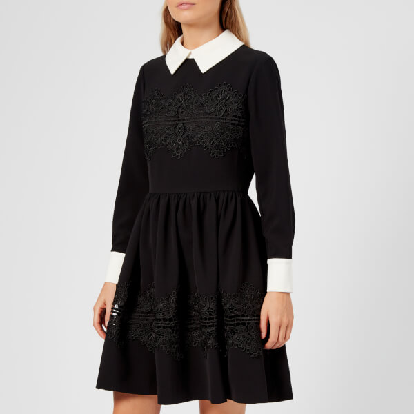 Ted Baker Women\'s Haeden Collared Lace Panel Dress - Black Womens ...