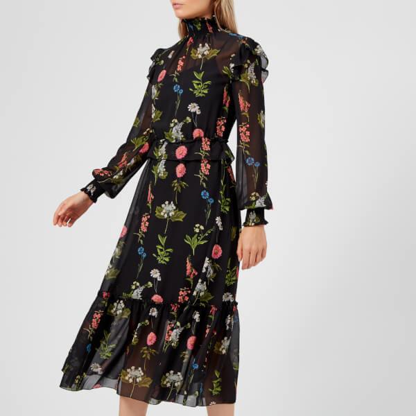 7bb09ca672e2e7 Ted Baker Women s Simarra Florence Midi Long Sleeve Dress - Black  Image 3