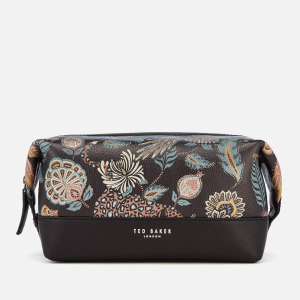a439b0f3a3a83 Ted Baker Men s Clubb Printed Leather Wash Bag - Black  Image 1