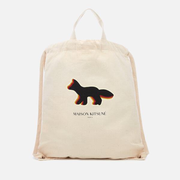 Maison Kitsuné Men's Quadri Fox Tote Backpack - Ecru