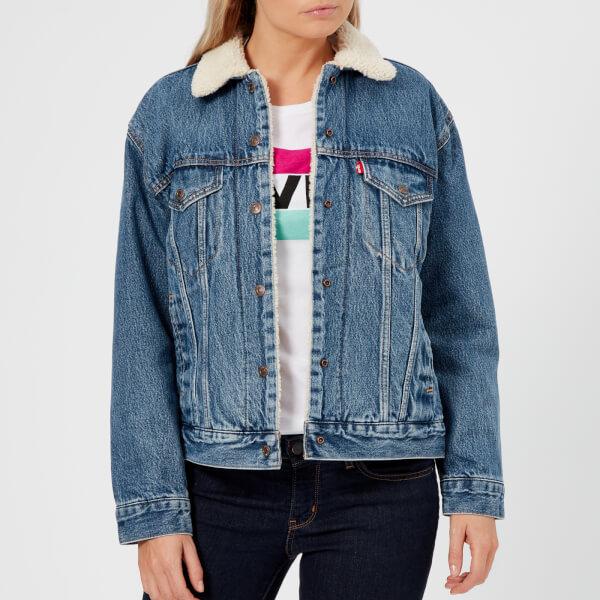 levi's women's ex-boyfriend sherpa trucker jacket - addicted to love - xs - blue