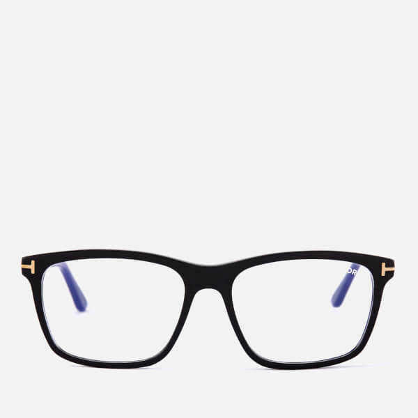 Tom Ford Men's Blue Block Square Glasses - Shiny Black