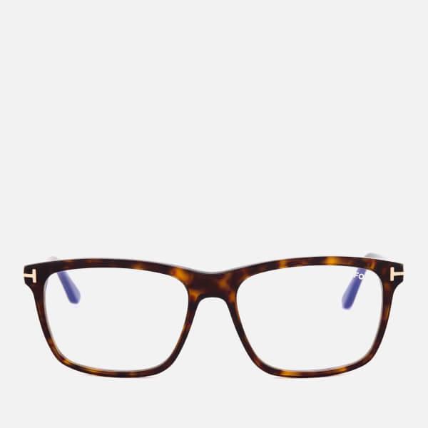 d5732fffecc Tom Ford Men s Blue Block Square Glasses - Dark Havana  Image 1