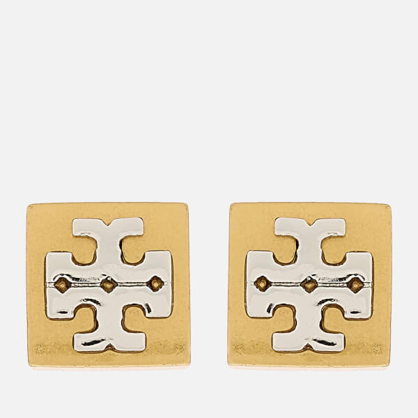 Tory Burch Women's Block-T Logo Stud Earrings - Tory Gold/Silver