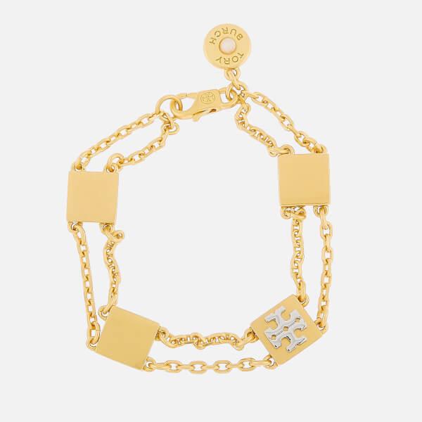 Tory Burch Women's Block-T Line Bracelet - Tory Gold/Silver