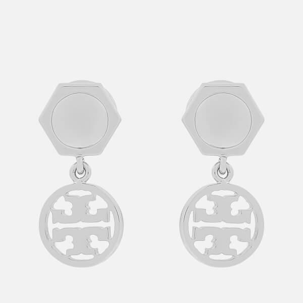 Tory Burch Women's Logo Drop Earrrings - Tory Silver