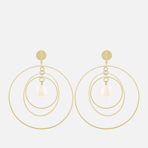 Tory Burch Women's Multi-Hoop Pearl Earrings - Pearl/Shiny Brass