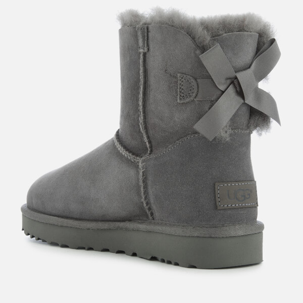 ugg women s mini bailey bow ii sheepskin boots grey womens rh thehut com
