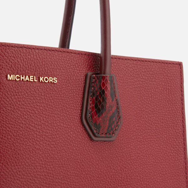 5ead07f9ab76 MICHAEL MICHAEL KORS Women s Mercer Large Convertible Tote Bag Lizard -  Maroon Oxblood  Image