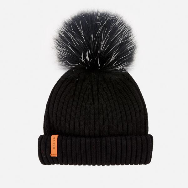 BKLYN Women's Merino Classic Pom Pom Hat - Black/White