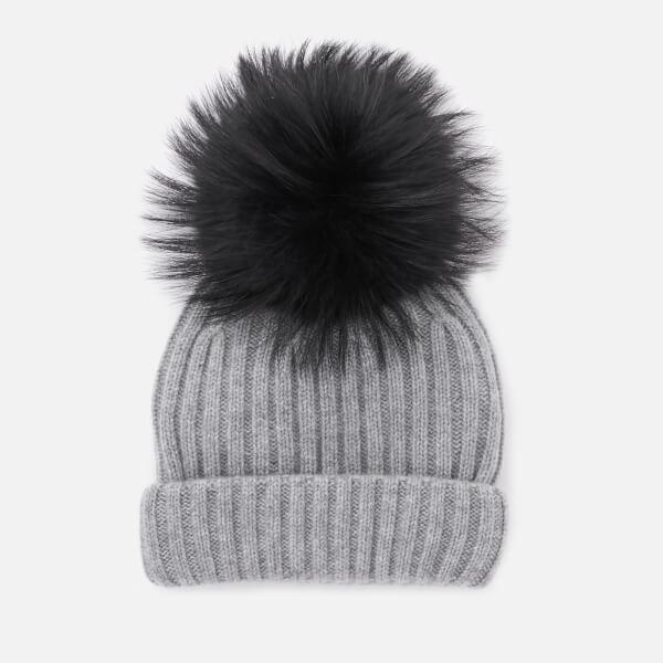 BKLYN Women s Cashmere Pom Pom Hat - Grey Black Womens Accessories ... 5ad5b7b3d