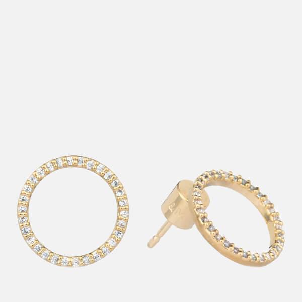 Astrid & Miyu Women's Tuxedo Circle Earrings - Gold
