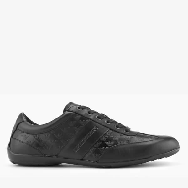 Emporio Armani Men's Zatch Leather Embossed Oxford Trainers - Black/Black