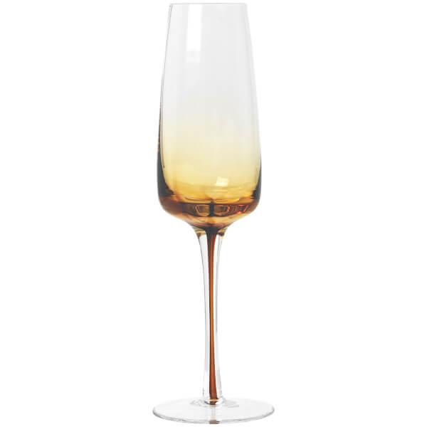 Broste Copenhagen Amber Champagne Glass - Mouthblown Caramel