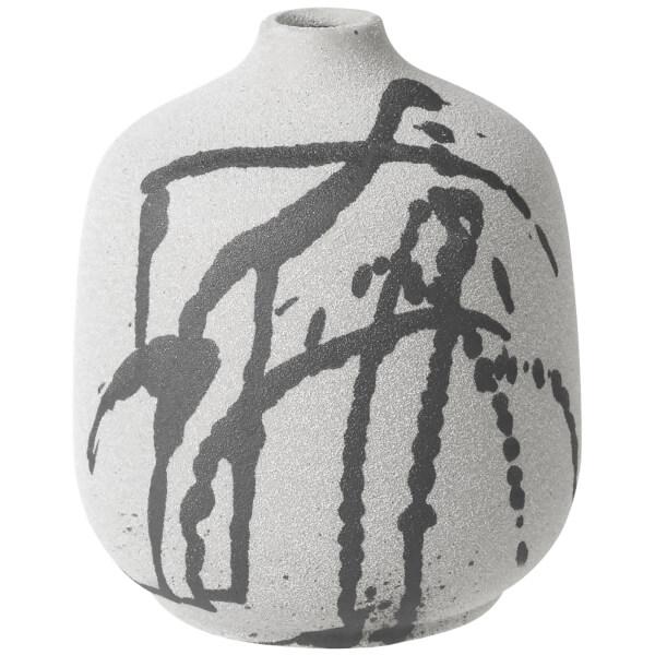 Broste Copenhagen Splash Bottle Ceramic Vase - Grey and White - 16cm