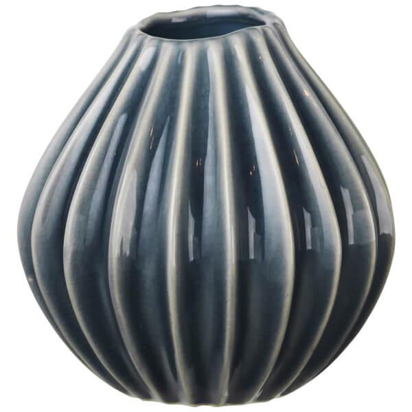 Broste Copenhagen Wide Ceramic Vase - Small - Blue Mirage