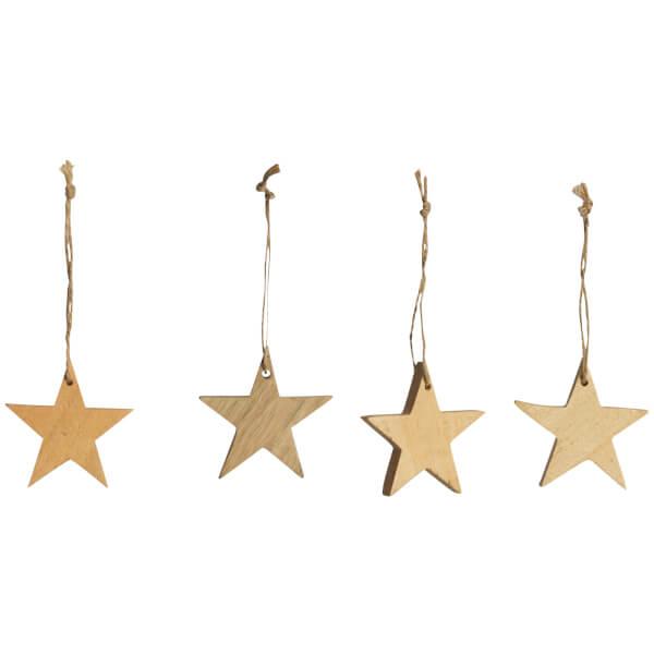 Nkuku Chana Mango Wood Star Decorations - Natural (Set of 4)