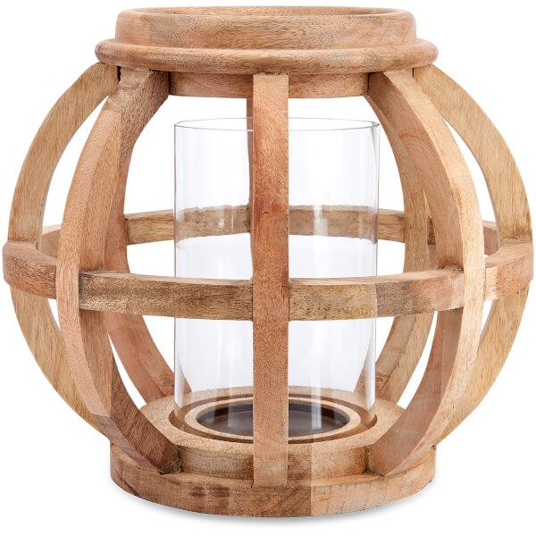 Nkuku Kabu Wooden Lantern - Mango Wood - Small