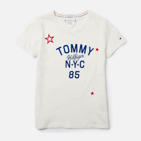 Tommy Hilfiger Girls' Essential Tommy Logo T-Shirt - Snow White