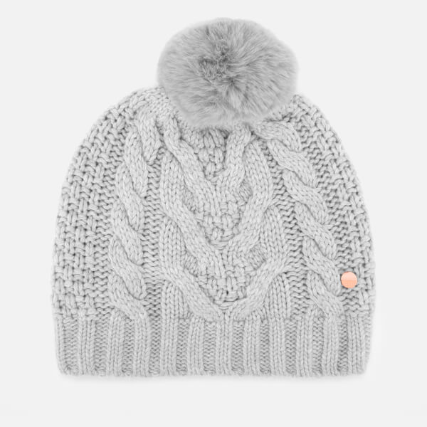 89d5a57c782 Ted Baker Women s Quirsa Cable Knit Pom Hat - Light Grey  Image 1