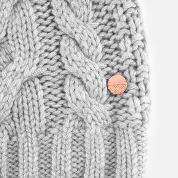 57887913dc0d7 Ted Baker Women s Quirsa Cable Knit Pom Hat - Light Grey  Image 3