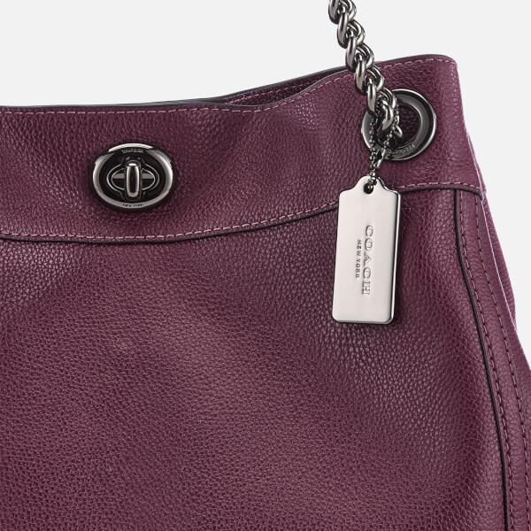 Coach Women s Polished Pebble Leather Turnlock Edie Shoulder Bag - Dark  Berry  Image 4 6d5accb43b7df