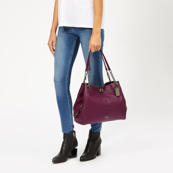 Coach Women s Polished Pebble Leather Turnlock Edie Shoulder Bag - Dark  Berry  Image 3 582050770ce26