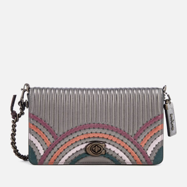 f3faea98bb535 Coach Women s Dinky Bag with Colorblock Deco Quilting and Rivets - Metallic  Graphite Multi  Image