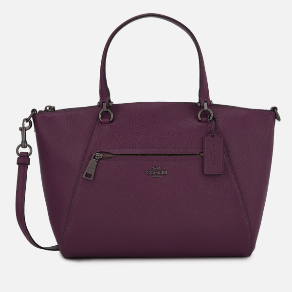 Coach Women's Polished Pebbled Leather Prairie Satchel Bag - Dark Berry