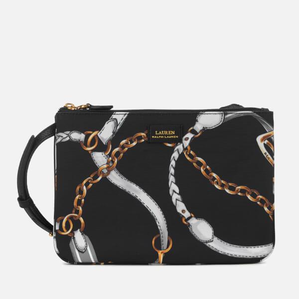 Lauren Ralph Lauren Women s Chadwick Double Zip Medium Cross Body Bag -  Black Sig Belting Print c9e0a53dcf122