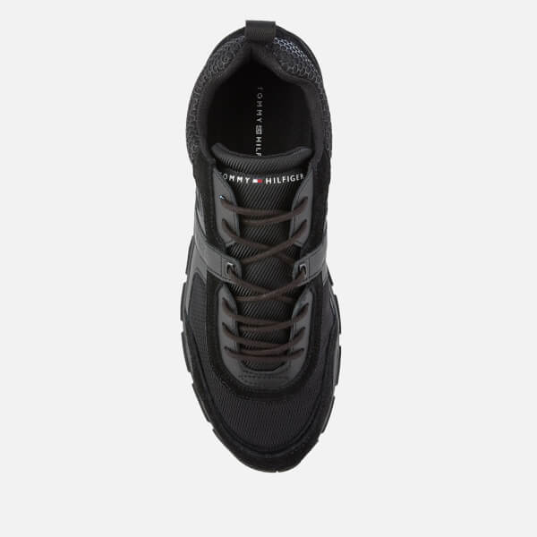 f49f83f1 Tommy Hilfiger Men's Material Mix Lightweight Runner Trainers - Black:  Image 3