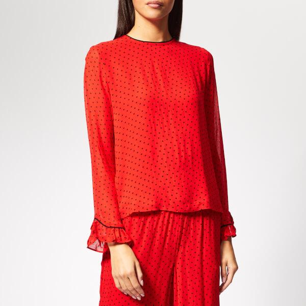 Ganni Women's Mullin Georgette Top - Fiery Red