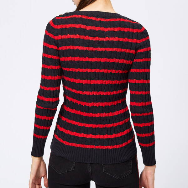 Superdry Women s Croyde Bay Cable Knit Jumper - Navy Red Stripe  Image 2 26a2a91c4