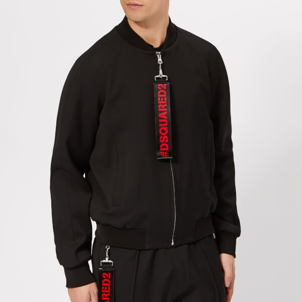 Dsquared2 Men's Classic Bomber Jacket with Tape Pull - Black
