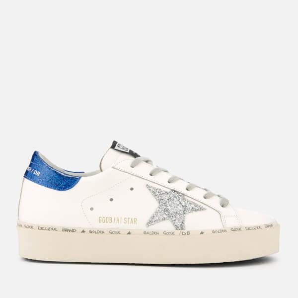 Golden Goose Deluxe Brand Women's Hi Star Leather Trainers - White/Blue/Silver Glitter Star