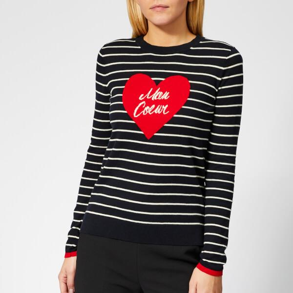 Whistles Women's Mon Coeur Heart Stripe Knit Jumper - Multicolour