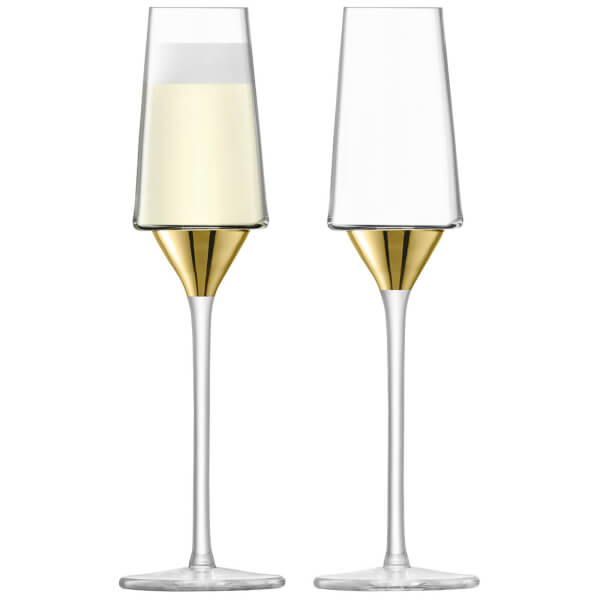 LSA Space Champagne Flutes - Gold (Set of 2)