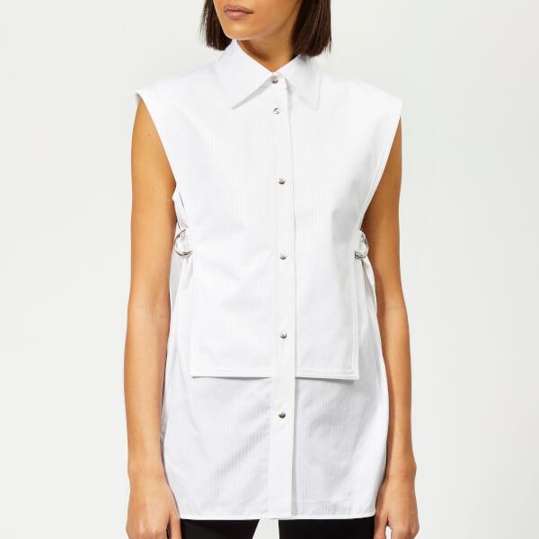 Helmut Lang Women's Sleeveless Bib Shirt - White Satin