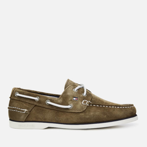 Tommy Hilfiger Men's Classic Suede Boat Shoes - Olive Night