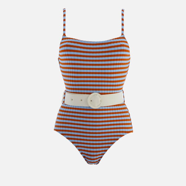 Solid & Striped Women's The Nina Belt Swimsuit - Sky Clay Rib