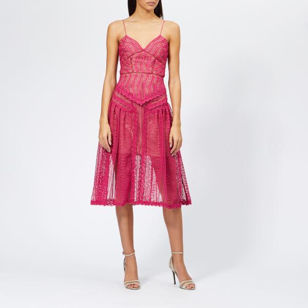 Self-Portrait Women's Spiral Lace Panel Dress - Fuchsia ...